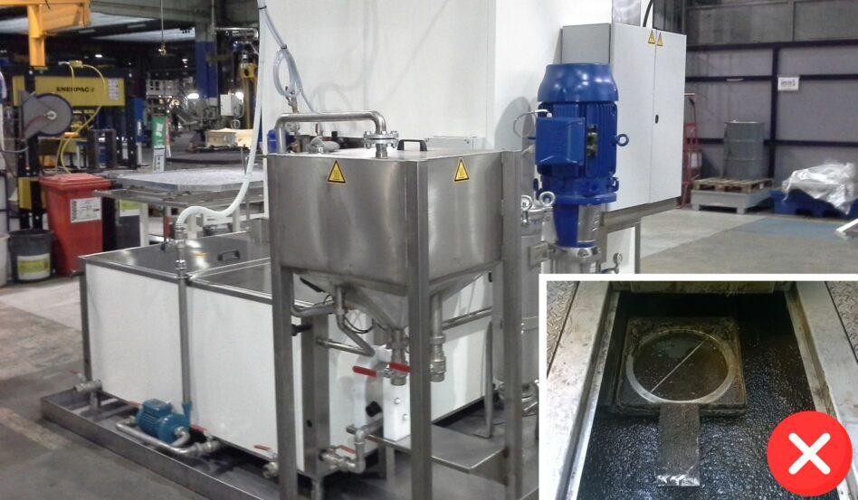 Machine de nettoyage de pièces ferroviaires avec dégraisseur intégré
