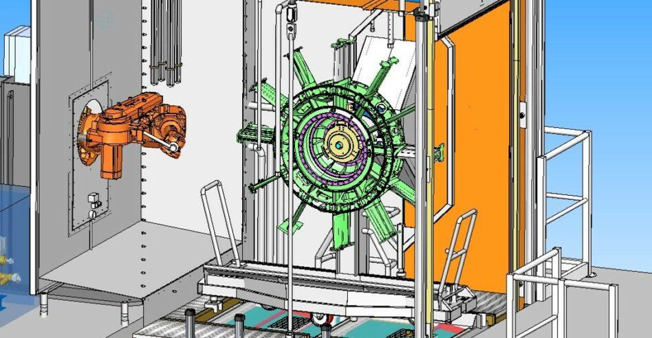 Machine de nettoyage de pièces aéronautiques avec robot intégré