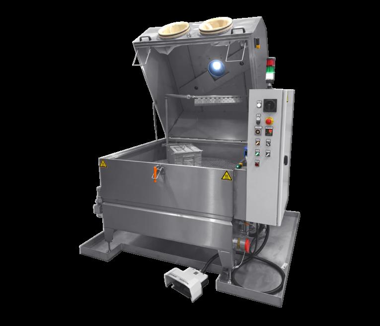Machine de nettoyage pièces à plateau rotatif en mode manuel