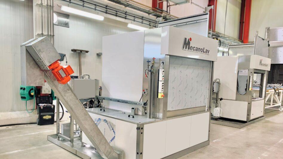 Machine de nettoyage monobain à plateau rotatif avec double porte et drague