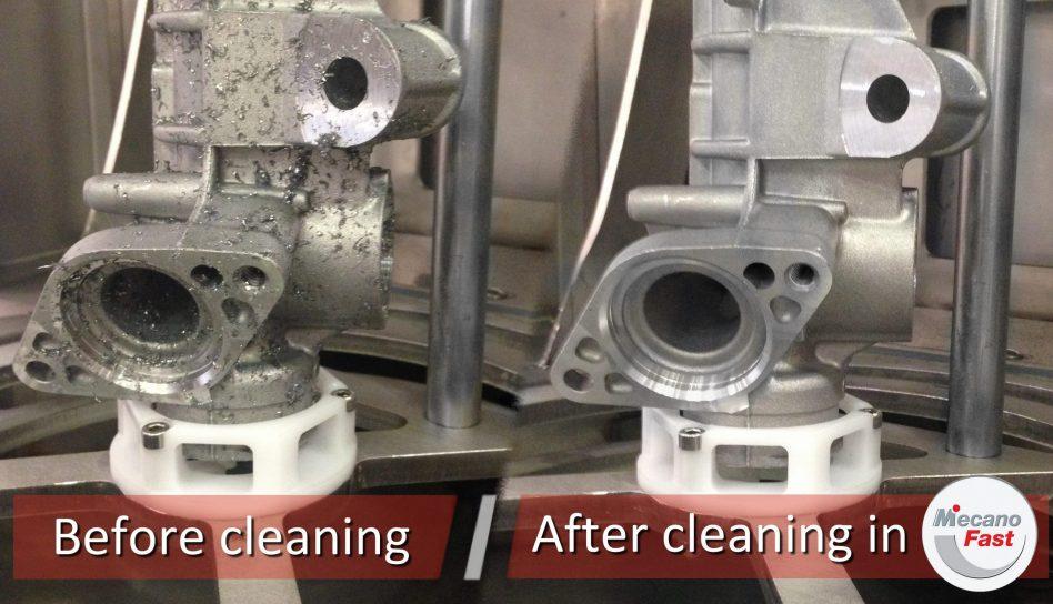 Comparaison de pièce automobile avant et après nettoyage en machine