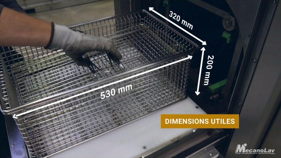 Dimension panier de machine de nettoyage compact