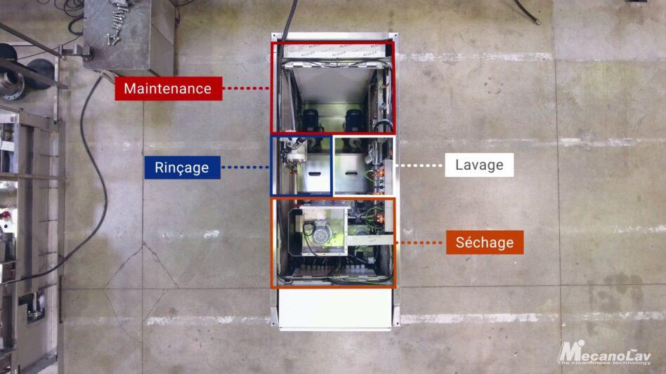 Machine de lavage, rinçage et séchage de pièces mécaniques